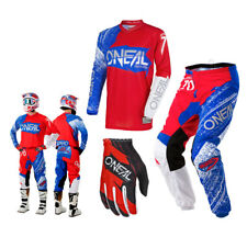 Oneal Element Combo Burnout Red Blue Enduro Motocross Cross Pants Shirt Glove