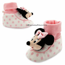 Minnie Mouse Head Pink/White Polka Dot BABY Plush Slippers Disney Store 12-18M