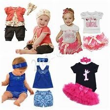 Baby Girls 1st First Birthday Dress Romper Tutu Skirt Headband Outfit Christmas