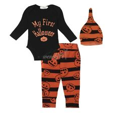 3pcs Kids Baby Boy Girl Halloween Winter top +cap+Pants Outfit Set Clothes 0-18M