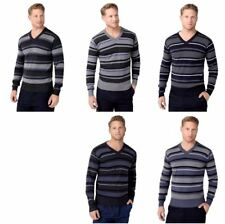 New Mens Sweater Jumper Striped V Neck Wool Knit Pullover Warm Casual Office Top
