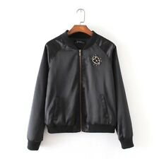 New Womens Ladies Beatles Beaded Embroidered Black Satin Bomber Jacket Coat