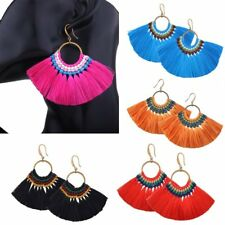 Boho Vintage Bunch Braided Tassel Fringe Dangle Hook Earrings Women Lady Jewelry
