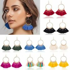 Women Fashion Boho Fan-shaped Tassel Fringe Big Circle Dangle Earrings Jewelry