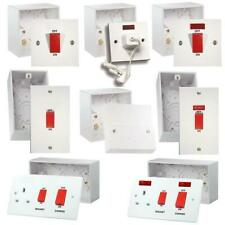 45A COOKER SWITCH SOCKET OUTLET 1G 2G + BACK BOX 47MM PATTRESS ELECTRICAL SWITCH