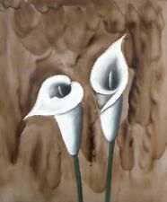Calla Lilies White Flower Petals Hand Painted Canvas Wall Art Beige Oil Painting
