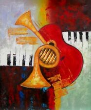 Central Musical Abstract Instrument Colorful Music Stretched Canvas Oil Painting