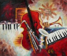Instruments Music Abstract Colorful Hand Painted Stretched Canvas Oil Painting