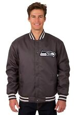 Seattle Seahawks NFL Men's Poly Twill Jacket Charcoal Embroidered Logos Licensed