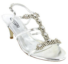 Womens Diamante Kitten Heels Wedding Strappy Ankle Dress Sandals Shoes Size 3-8