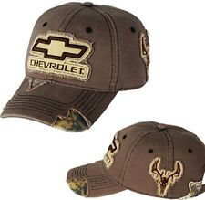 MEN'S CHEVROLET CAMO HAT/CAP CHEVY BOWTIE CAMOUFLAGE/DEER FRAYED LOOK NEW