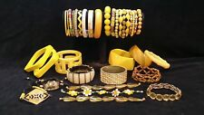 Yellow bracelets 34 LOT Bangles Stretch Cuff Wrap Beaded Friendship Glass MORE