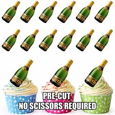 PRE-CUT 95th Birthday Champagne Bottle Edible Cup Cake Toppers Cake Decorations