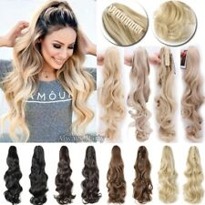 Real Natural Clip In Ponytail Pony Tail Claw On Hair Extensions Straight Wavy LS