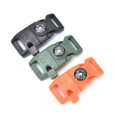 Buckle With Whistle Compass Flint Fire Starter Scaper For Paracord Bracelet NT
