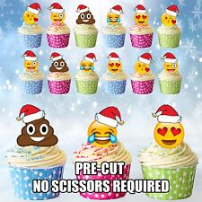 PRE-CUT Christmas Party Emoji / Poop Mix - Edible Cup Cake Toppers Decorations