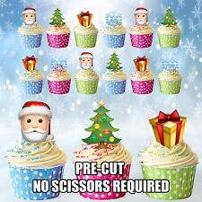 PRE-CUT Christmas Party Emoji Tree Santa Mix Edible Cup Cake Toppers Decorations