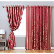 Aurora Home Wide Width Damask Jacquard Grommet 84-inch Curtain Panel Pair - 90 x