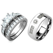 COUPLE Stainless Steel Hers Princess Cut CZ Wedding Ring/His 7 Round CZs Band