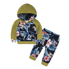 2Pcs Toddler Baby Girls printing Hoodie Tops +Pants Cotton Outfits Set Clothes