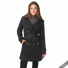 Womens Coat Ladies Fashion New Double Breasted Belted Jacket Trench Button Mac