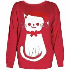 New Womens knitted red cat festive christmas xmas jumper top size 8-16