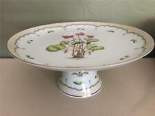 GEORGES BRIARD RETRO VICTORIAN GARDEN CYCLAMEN FOOTED CAKE PLATE