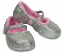 Crocs Kids' Girls Karin Sparkle Fuzz Lined Clogs 203514-040 Silver Mary Jane