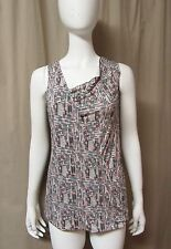 NWT Black White PRINT KNIT BLOUSE Rayon STRETCH TOP SHIRT Draped neck sleeveless