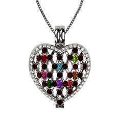 Ultimate Heart of Hearts Mothers Locket pendant, S-Silver,1mm Adjust Box chain