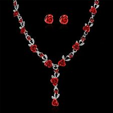 New Women Rose Wedding Bridal Jewelry Crystal Rhinestone Necklace Earrings Set