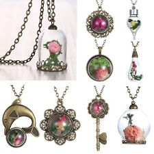 Retro Handmade Round Women Glass Dried Flower Grass Inside Necklace Pendant Gift