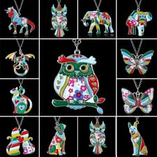 Silver Plated Printing Enamel Animal Dog Owl Elephant Butterfly Pendant Necklace