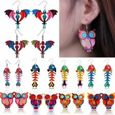 Colorful Rainbow Printing Skeleton Fish Owl Dangle Hook Earrings Women Jewelry