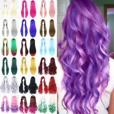 Fashion Women Natural Hair Wig Long Straight Curly Cosplay Synthetic Full Wig 55