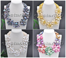 "D0189 Handmade 6row 19"" 14mm Coin Freshwater Pearl Flower Necklace"