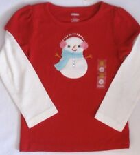 Gymboree Cozy Cutie Top Size 3 or 4 Red Snowman Shirt New Girls Winter