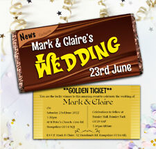 Personalised Wonka Chocolate Bar Wrappers Wedding Invitations Golden Ticket N55