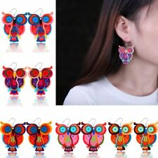 Fashion Colorful Printing Owl Dangle Ear Earrings Hook Women Lady Jewelry Gift