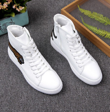 Mens White High Top Athletic Sport Sneakers Casual Shoes Lace Up Platform Korean