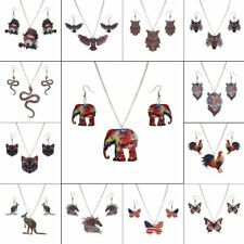 Fashion Butterfly Owl Printing Earrings Necklace Jewelry Set Women Lady Gift New