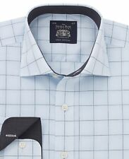 Savile Row Men's Light Blue Prince of Wales Check Slim-Fit Shirt - Single Cuff