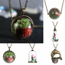 Natural Real Dried Flower Terrarium Drop Glass Pendant Necklace Jewelry Family