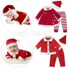 baby boy girl CHRISTMAS Santa Claus tops&pants&hat outfit costume kids clothes