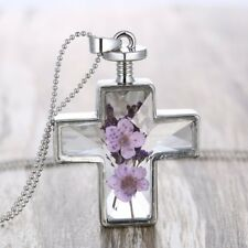 Hot Natural Dried Flower Cross Glass Locket Pendant Necklace Women Sweater Chain