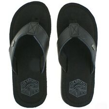 MENS URBAN BEACH KANEOHE BLACK LEATHER TOE POST FLIP FLOP BEACH SANDALS