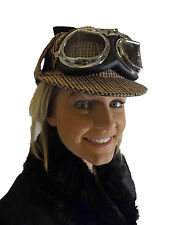 New Victorian Steampunk Festival Party Sherlock Trapper Hat Tweed Goggles Brown