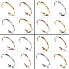 Chic Stainless Steel Gold/Silver Letter Cuff Bangle Bracelet Family Gift Jewelry