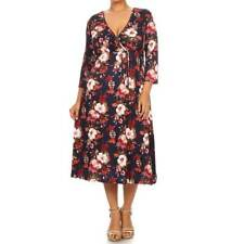 MOA Collection Women's Plus-size Multicolor Rayon and Spandex Floral Dress
