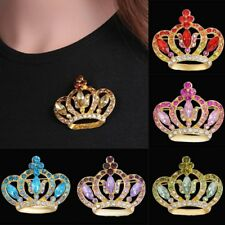 Women Fashion Crystal Rhinestone Crown Wedding Bridal Bouquet Brooch Pin Gift